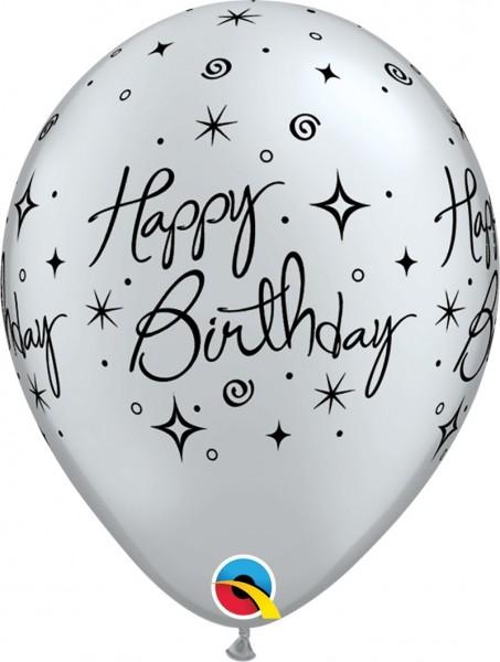 "Qualatex Latexballon Birthday Elegant Sparkles & Swirl 28cm/11"" 25 Stück"