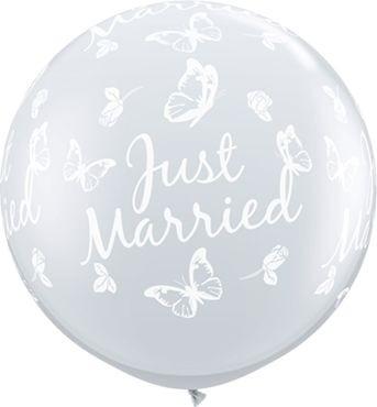 Qualatex Latexballon Just Married Butterflies-A-Round Diamond Clear 90cm/3' 2 Stück