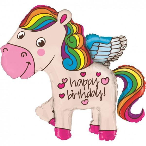"Betallic Folienballon 114cm/45"" Rainbow Birthday Pony"
