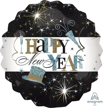 "Anagram Folienballon Rund 70cm Durchmesser ""Happy New Year!"" Elegant Celebration Holo"