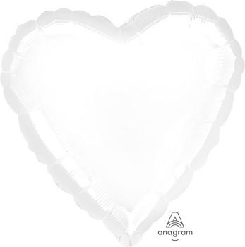 Anagram Folienballon Herz 45cm Durchmesser Metallic Weiß (Metallic White)