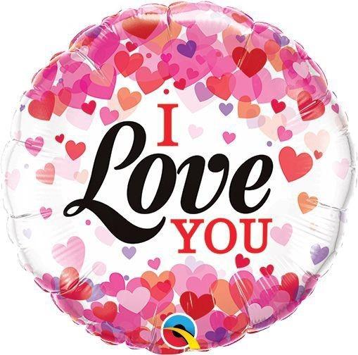 """Qualatex Folienballon I Love You Confetti Hearts 23cm/9"""""""