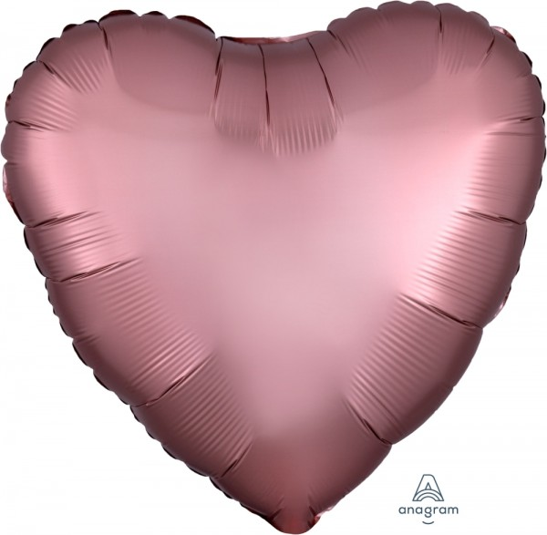Anagram Folienballon Herz 45cm Durchmesser Satin Rosé Kupfer (Satin Rose Copper)