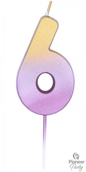 Pioneer Kerze Rosegold Zahl 6 7cm