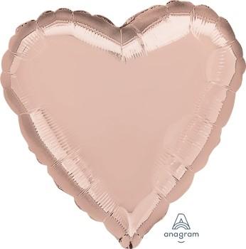 Anagram Folienballon Herz 45cm Durchmesser Rose Gold