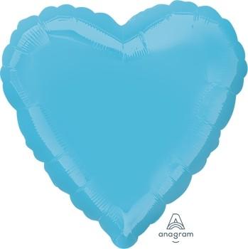 Anagram Folienballon Herz 45cm Durchmesser Metallic Karibikblau (Metallic Caribbean Blue)