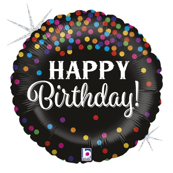 "Betallic Folienballon Happy Birthday Konfetti 46cm/18"""