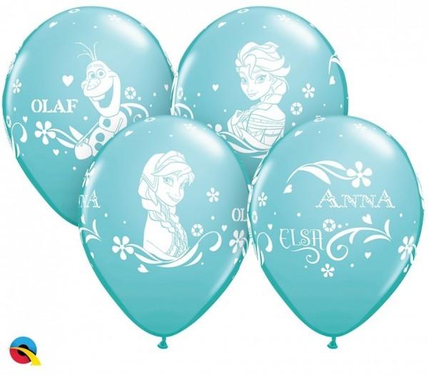 """Qualatex Latexballon Anna, Elsa & Olaf Blue 28cm/11"""" 6 Stück"""
