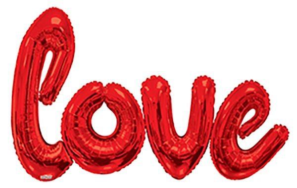 """Kaleidoscope Jumbo Folienballon Happy Love Script Red 84x53"""" S"""