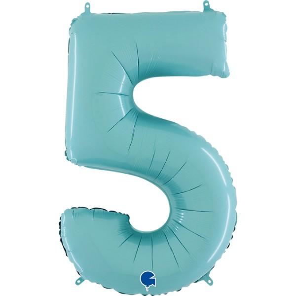 "Grabo Folienballon Zahl 5 Pastel Blue 66cm/26"""