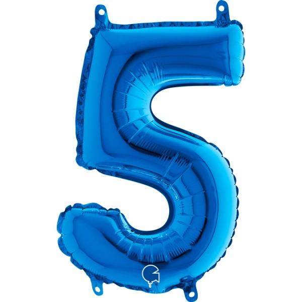 "Grabo Folienballon Blau 36cm/14"" Zahl 5"