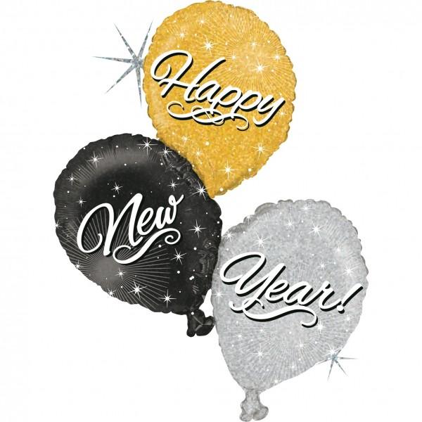 "Betallic Folienballon New Year Trio Holo 100cm/40"""