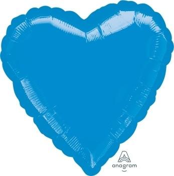 Anagram Folienballon Herz 45cm Durchmesser Metallic Blau (Metallic Blue)