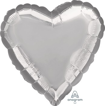 Anagram Folienballon Herz 45cm Durchmesser Metallic Silber (Metallic Silver)