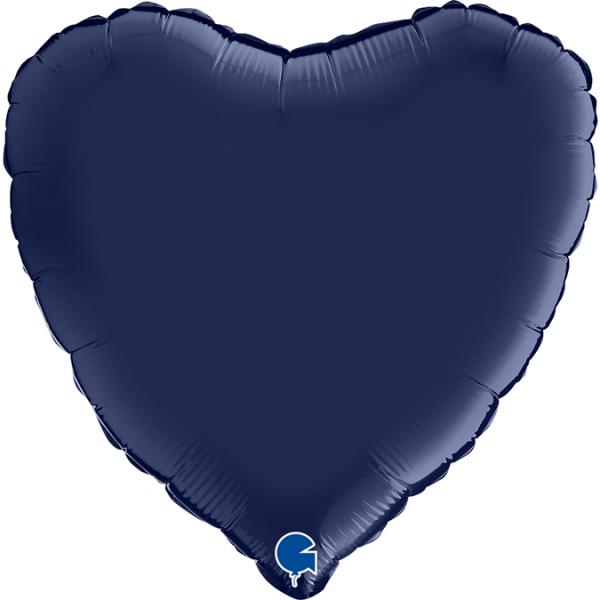 "Grabo Folienballon Heart Satin Blue Navy 45cm/18"""