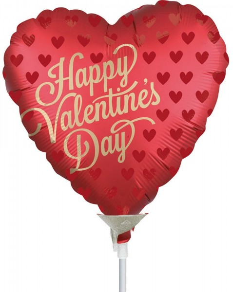 "Anagram Folienballon Happy Valentine's Day 23cm/9"" Sangria luftgefüllt inkl. Stab"