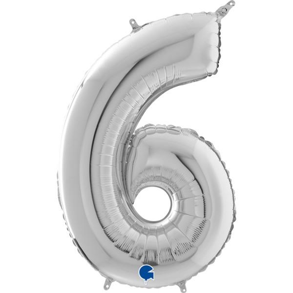 """Grabo Folienballon Zahl 6 Silver 66cm/26"""""""