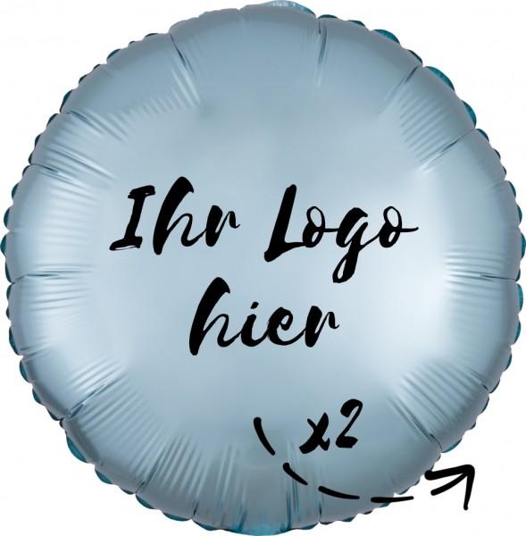 """Folien-Werbeballon Rund Satin Luxe Pastel Blue 45cm/18"""" 2-Seitig bedruckt"""
