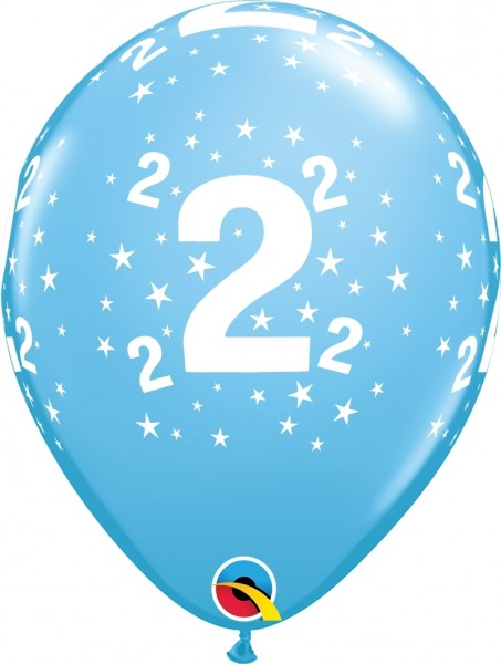 "Qualatex Latexballon Age 2 Stars Blau 28cm/11"" 6 Stück"