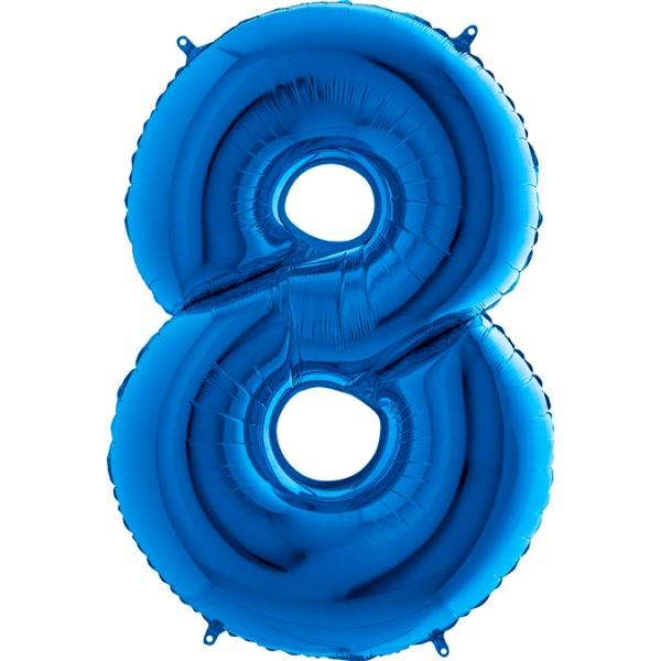 "Grabo Folienballon Zahl 8 Blue 100cm/40"""