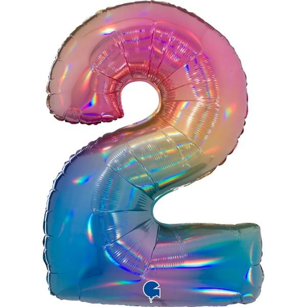 """Grabo Folienballon Zahl 2 Colourful Rainbow 100cm/40"""""""