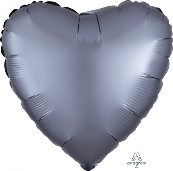 Anagram Folienballon Herz Satin Luxe Graphite 45cm/18""