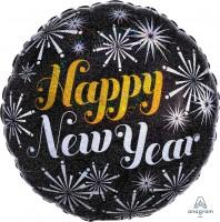"Anagram Folienballon Rund ""Happy New Year"" Pizazz Holo 45cm/18"""