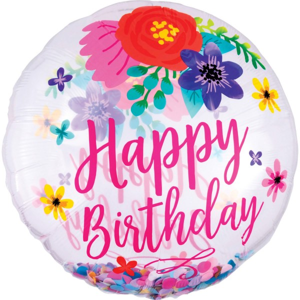 "Anagram Folienballon Rund ""Happy Birthday"" Confetti Floral Fun 70cm/27"""