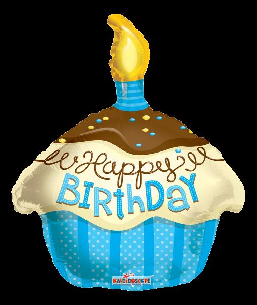 "Kaleidoscope Folienballon ""Happy Birthday - Blauer Cupcake"", 18"""