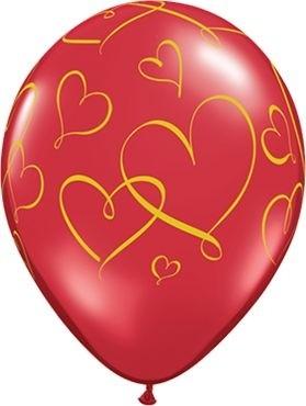 "Qualatex Latexballon Romantic Hearts 28cm/11"" 25 Stück"