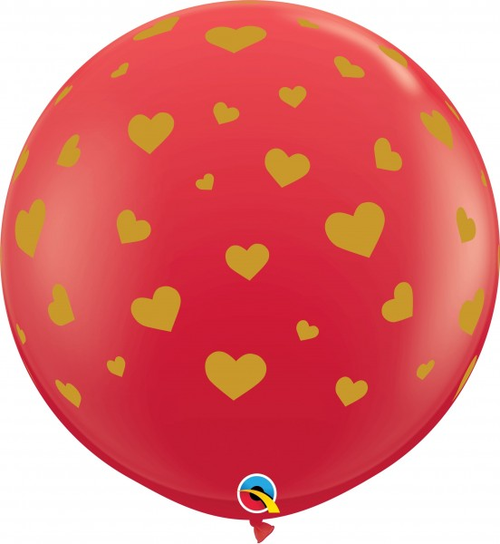 "Qualatex Latexballon Standard Random Hearts Red 90cm/36"" 2 Stück"