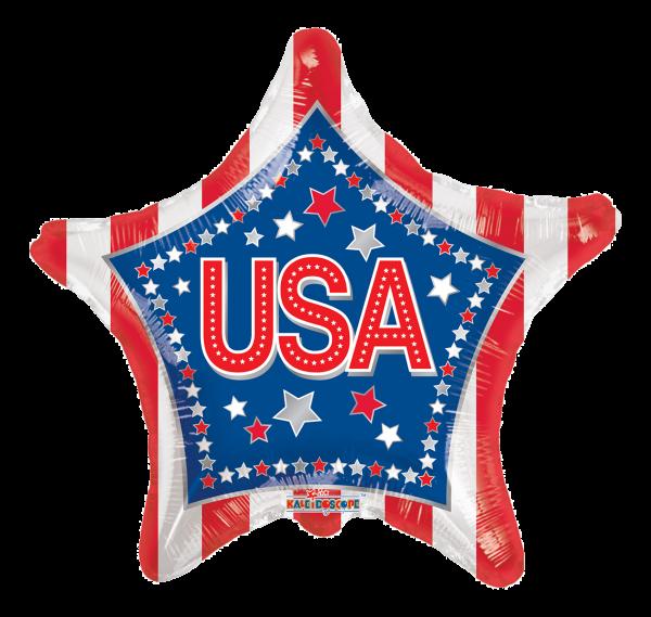 "Kaleidoscope Folienballon USA Sterne & Streifen K-Light 17"" F"