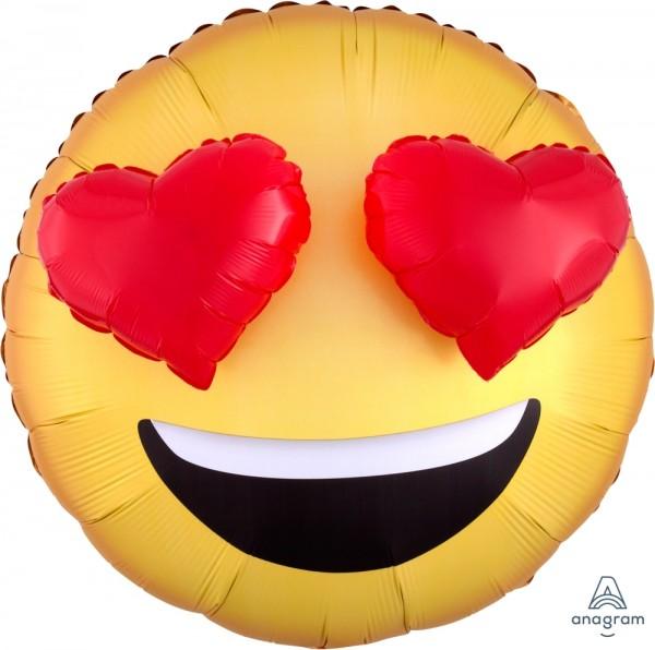 "Anagram Folienballon Emojis Heart Eyes Yellow & Red 70cm/27"""