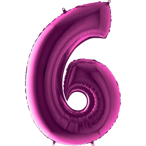 "Grabo Folienballon Zahl 6 Purple 100cm/40"""