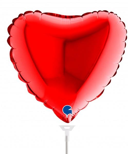 """Betallic Folienballon Heart Red 23cm/9"""" luftgefüllt inkl. Stab"""