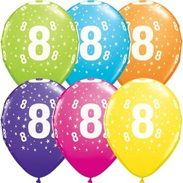 "Qualatex Latexballon Stars 8-A-Round Tropical Assortment 28cm/11"" 25 Stück"