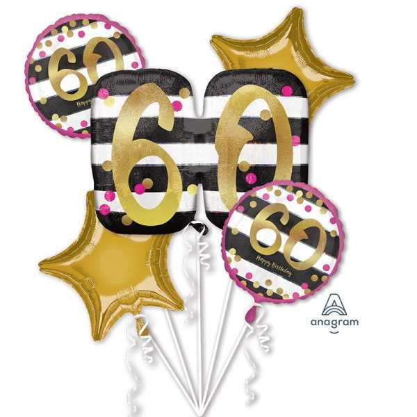 "Anagram Folienballon Bouquet ""Pink & Gold Meilenstein 60"""