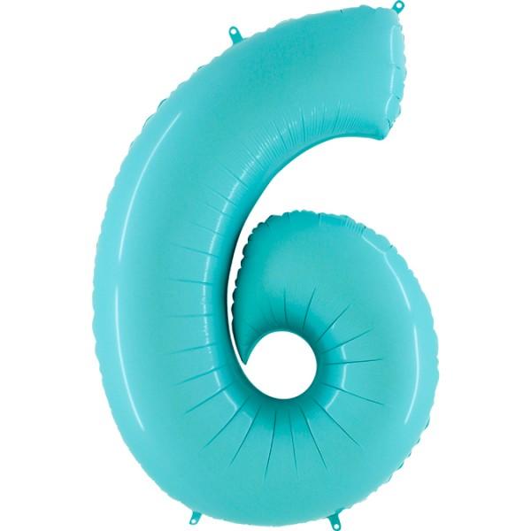 "Grabo Folienballon Zahl 6 Pastel Blue 100cm/40"""