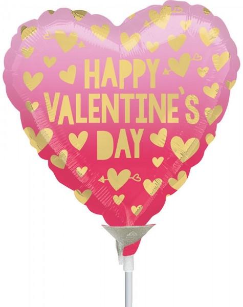 "Anagram Folienballon Happy Valentine's Day 23cm/9"" Pink Ombre luftgefüllt inkl. Stab"