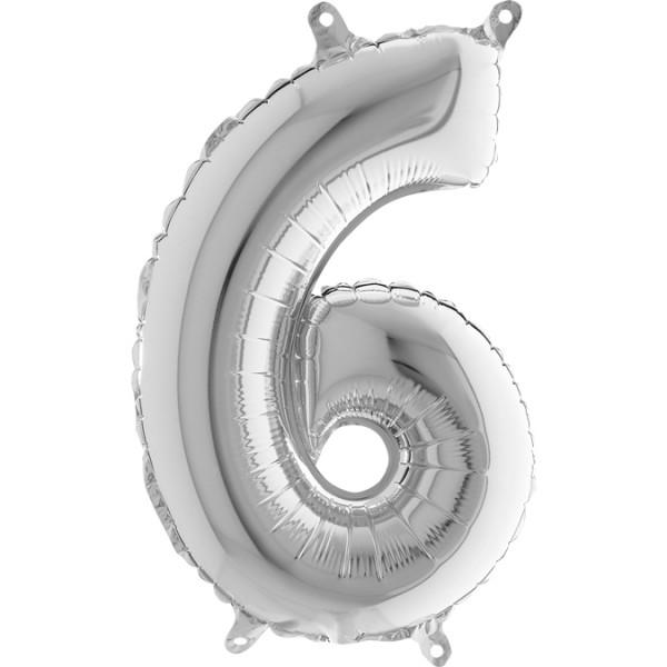 "Grabo Folienballon Mini Silber 36cm/14"" Zahl 6"