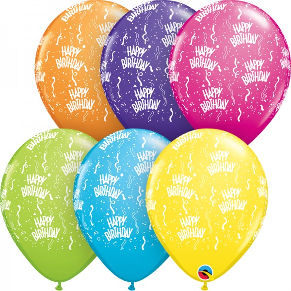 "Qualatex Latexballon Birthday-A-Round Tropical Assortment 28cm/11"" 50 Stück"