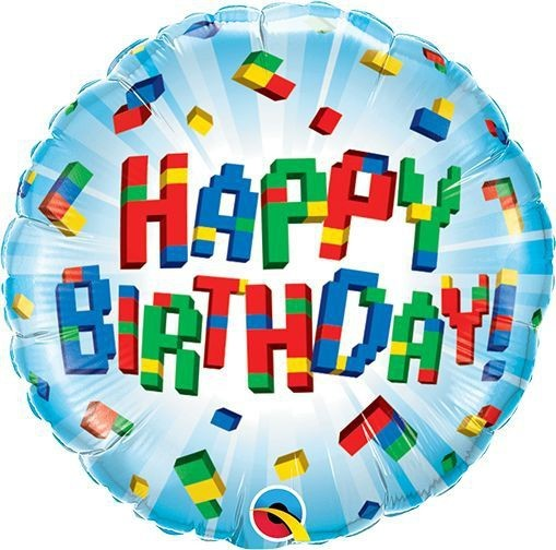 Qualatex Folienballon Birthday Exploding Blocks 23cm/9""