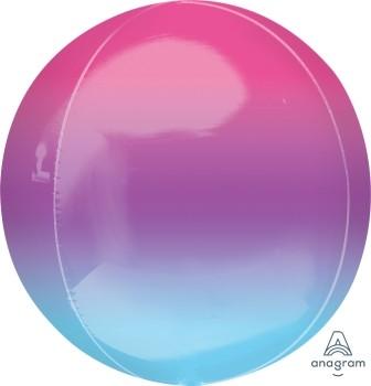 Anagram Folienballon Orbz 40cm Durchmesser Ombré Lila & Blau (Purple & Blue)