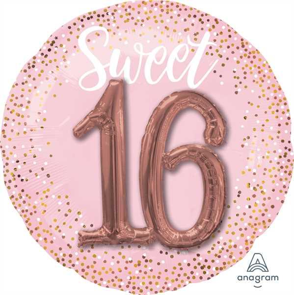 "Anagram Folienballon Sweet 16 Rose & Dots 70cm/27"""