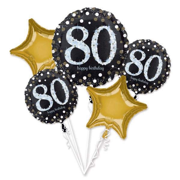 """Anagram Folienballon Bouquet """"Funkelnder Geburtstag 80"""""""