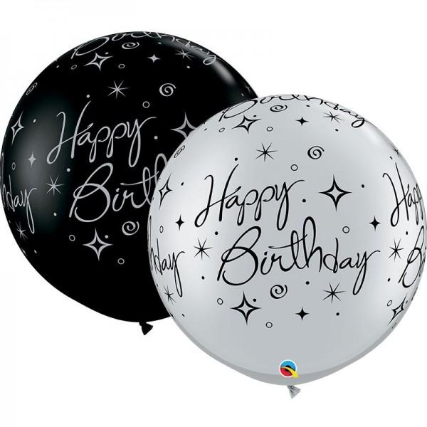 Qualatex Latexballon Birthday Sparkle Swirls Fashion Onyx Black & Metallic Silver 90cm/3' 2 Stück