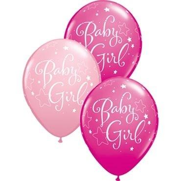 "Qualatex Latexballon Baby Girl Stars Assorted Pink & Wild Berry 28cm/11"" 25 Stück"
