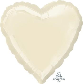 Anagram Folienballon Herz 45cm Durchmesser Metallic Pearl Elfenbein (Metallic Pearl Ivory)