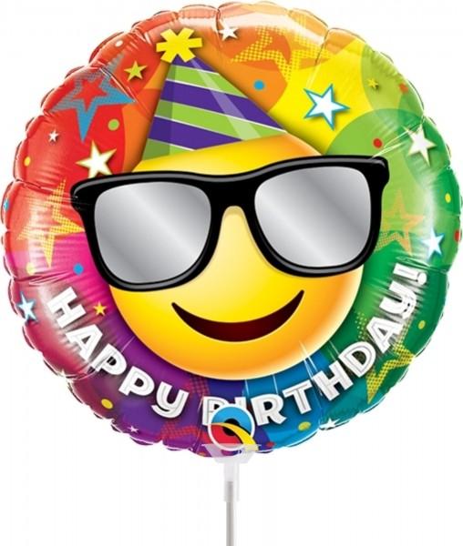 "Qualatex Folienballon Birthday Smiley 23cm/9"" luftgefüllt inkl. Stab"