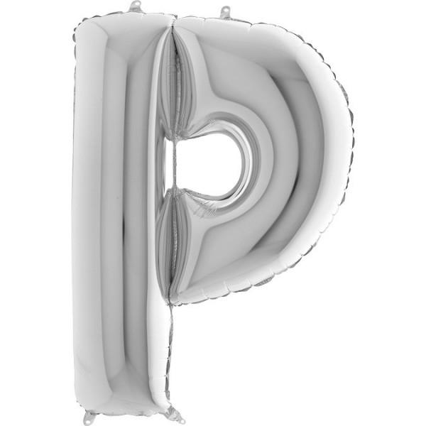 """Grabo Folienballon Buchstabe P Silver 100cm/40"""""""